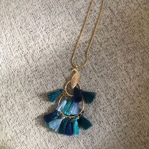 Lilly pulitzer blue tassel peacock gold necklace